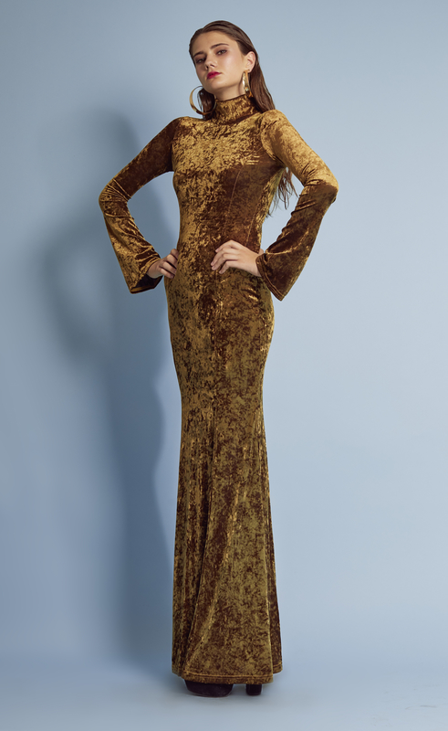 GOLD VELVET LONG DRESS